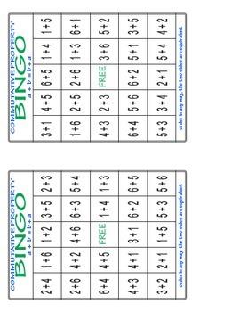 Commutative Property of Addition Bingo Game