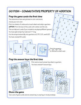Commutative Property of Addition Go Fish Game ★ FREEBIE ★