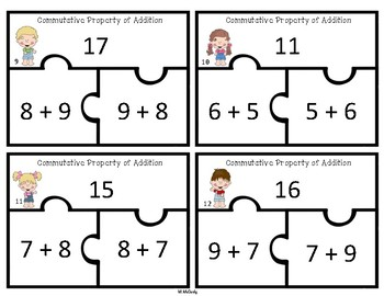 Commutative Property of Addition Puzzles