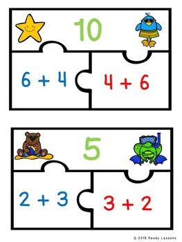 Commutative Property of Addition Game 1st Grade Math Center Puzzles 1.OA.3