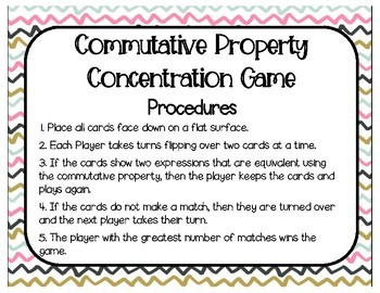 Commutative Property of Multiplication Concentration (Match) Game