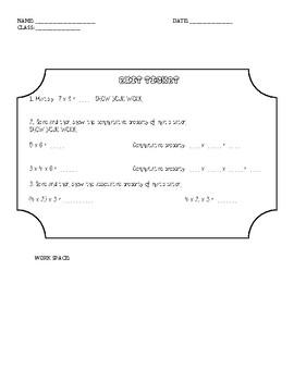 Commutative Property of Multiplication Exit Ticket
