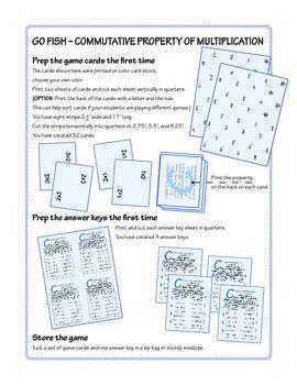 Commutative Property of Multiplication Go Fish Game