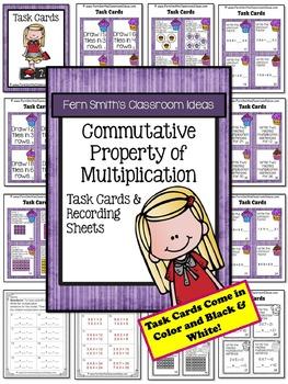 3rd Grade Go Math 3.6 Commutative Property of Multiplication Task Cards