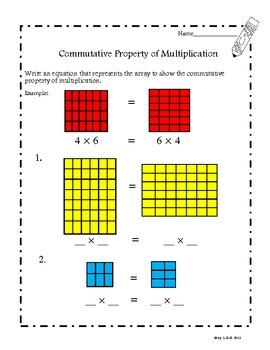 Common core worksheets commutative property