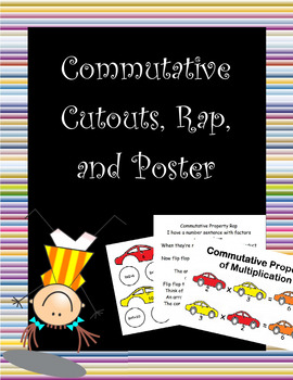 Commutative Property of Multiplication, rap, poster, and cutouts