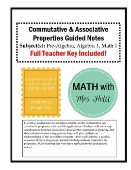 Commutative and Associative Property - Guided Notes with Activity