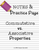 Commutative and Associative Properties Notes and Practice Page