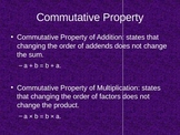 Commutative and Associative Properties PPT