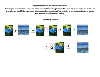 Commutative and Associative Properties Picture Project