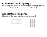 Commutative and Associative Property Poster
