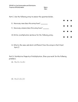 Commutative and Distributive Property Test