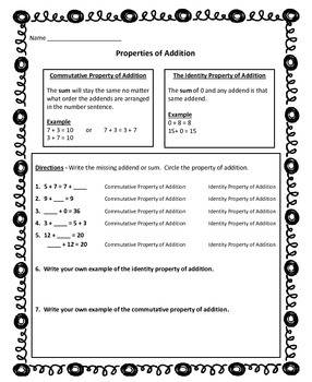 Commutative and Identity Properties of Addition Poster & Activity Pack