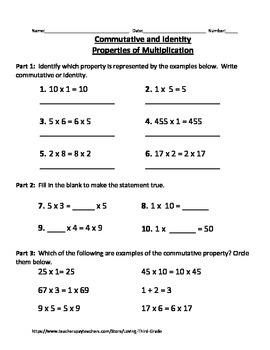 Commutative and Identity Properties of Multiplication VA SOL 3.20
