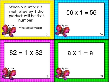 Commutative and Identity Property of Addition and Multiplication Task Cards
