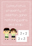 Commutative property of addition game: matching pairs and snap