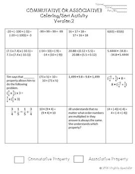 Commutative vs. Associative Property Differentiated Activity--3 Versions
