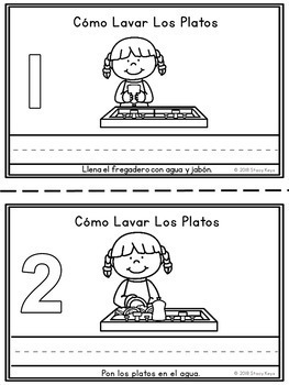 Mini-Booklet, Cómo Lavar Los Platos/How to Wash Dishes (w/prompts)