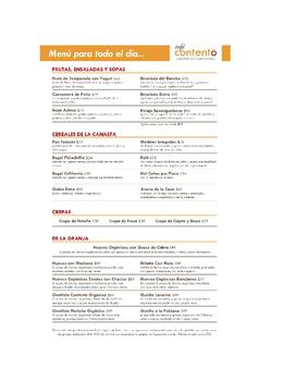 Como Leer un Menu- Spanish Menu Example and Assignment