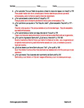 Como agua para chocolate - Capítulo 9 - Preguntas de comprensión