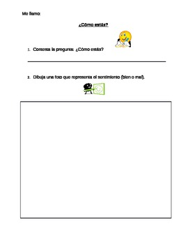 ¿Cómo estás? Spanish Worksheet For the First Day (Spanish