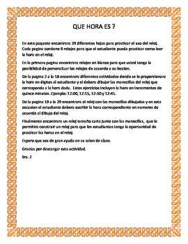 What time is it? Worksheet (English / Spanish)