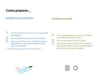 Como preparar diferentes portaobjetos/ How to prepare slides (in Spanish)