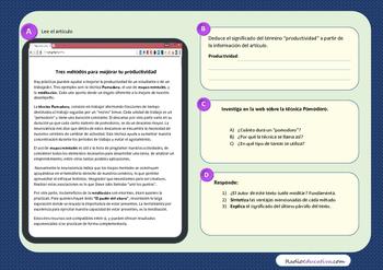 Cómo ser más productivo  Spanish reading comprehension activities