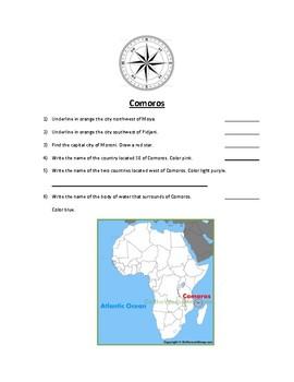 Comoros Map Scavenger Hunt