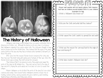 Comp Files: Practice Passages for Showing Text Based Evidence (October)