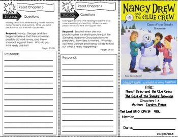 """Comp. Trifold for """"Nancy Drew: Case of the Sneaky Snowman"""" by Carolyn Keene"""