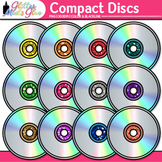Compact Disc Clip Art {Rainbow Glitter CDs for Classroom T