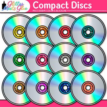 Compact Disc Clip Art {Rainbow Glitter CDs for Classroom T