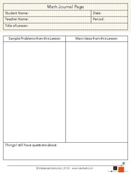 Companion Journal Page for Online Math Programs