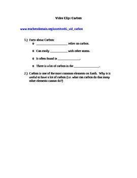 Companion to online Video Clip on Carbon (PBS) plus answer key