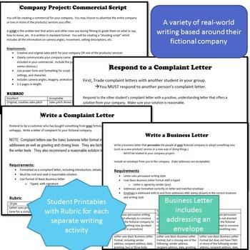Create a Company / Build a Business Project: Real World + Creative Writing - PDF
