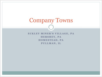 Company Towns (US) - Industrialization