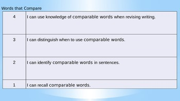 Comparable Words and Narrative Paragraph