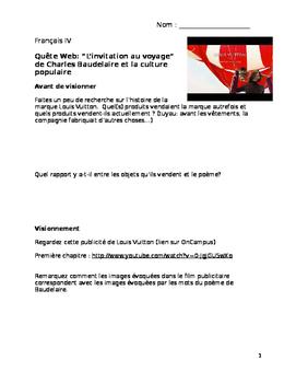 """Comparaison culturelle: Baudelaire """"Invitation au Voyage"""" & Louis Vuitton"""