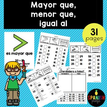 Comparar Numeros (mayor que, menor que, igual a) Greater than Less than- Spanish