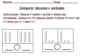 Comparar decenas y unidades