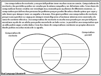 Comparar y Contrastar - Compare and Contrast - Spanish