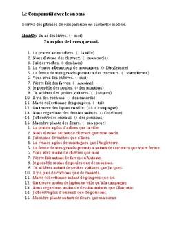 Comparatif avec les noms (Comparison with nouns) worksheet