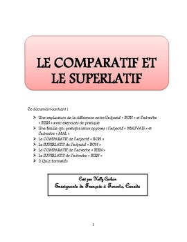 Comparatif et Superlatif de l'adjectif BON et de l'adverbe BIEN