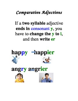 ESL/ELD Comparative Adjective Rules