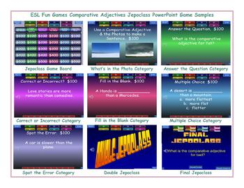 Comparative Adjectives Jeopardy PowerPoint Game Slideshow