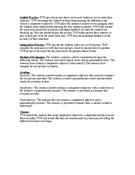 Comparative Adjectives Oral Language Lesson