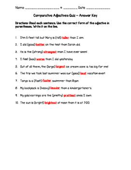 Comparative Adjectives Quiz