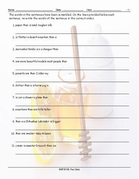 Comparative Adjectives Scrambled Sentences Worksheet