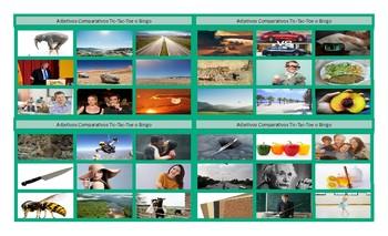 Comparative Adjectives Spanish Legal Size Photo Tic-Tac-Toe-Bingo Game